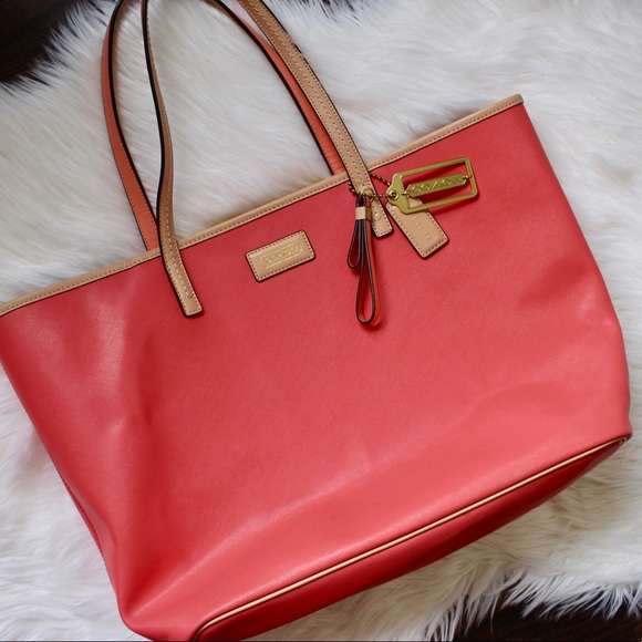 Coach Handbags - COACH Large Park Metro Leather Tote in Coral